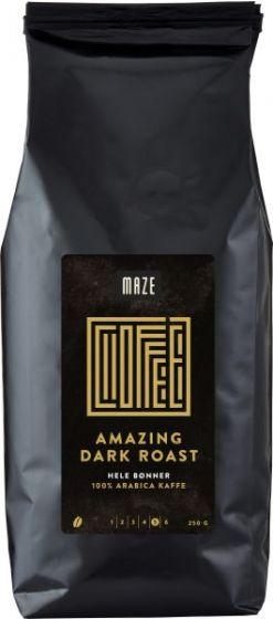 Kaffe hele bønner 250 gr Maze mørkbrent
