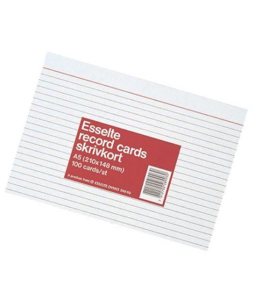 Kartotekkort A6 170g, linjert (100 stk)