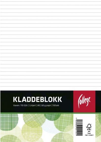 Kladdeblokk A5 linjer, topplimt, 100 ark