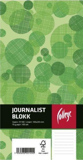 Journalistblokk 105x210mm linjer perforert, toppspiral (Wire-O), 100 ark