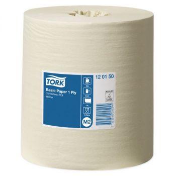 Tørkepapir, rull Tork Basic Senterrull M2 gul 20,5cm x 300meter, 1-lag