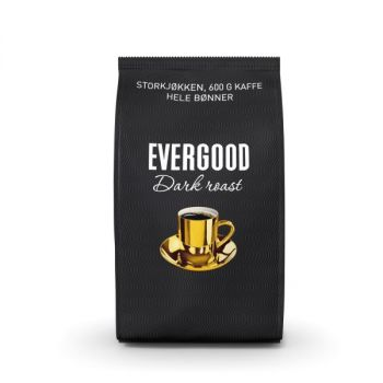 Kaffe Evergood Darkroast, Hele bønner, 600g