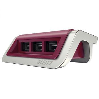 Lader, Leitz Power Style 3 X USB (Garnet rød)