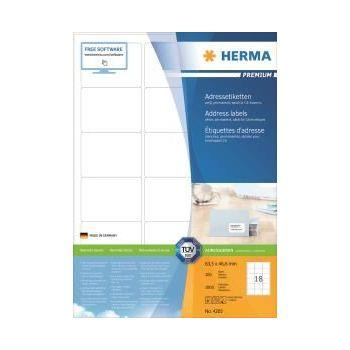 Etiketter Premium 63,5x46,6mm Blekk-Kopi-Laser, 18 stk pr ark, 100 ark pr eske