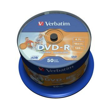 DVD-R Verbatim 16x 4,7GB Printbar 50-spindle