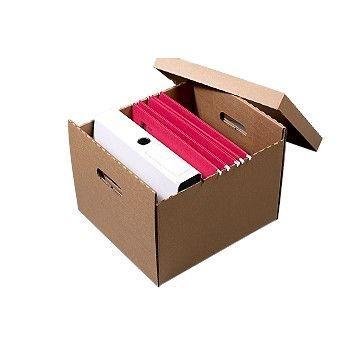 Arkivboks A4 med lokk, for hengemapper, kartong, Brun