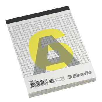 kladdebok A6 60g ruter, topplimt og stiftet (10 bl)