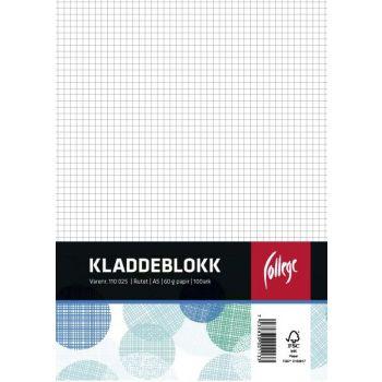 Kladdeblokk A5 ruter, topplimt, 100 ark
