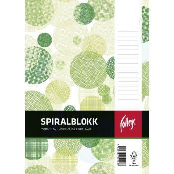 Spiralblokk A5 linjer perforert, toppspiral, 100 ark