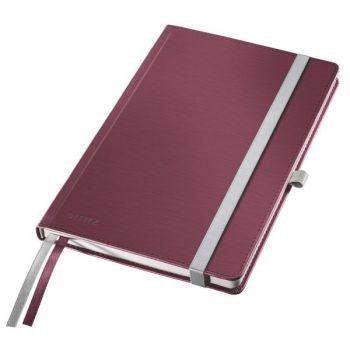Notatbok Leitz Style A5 hardt omslag, linjert 80 ark, Garnet rød