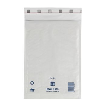 Støtbeskyttende pose 180X260mm Mail Lite D1, hvit boblepose