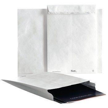 Rivesikker konvolutt, B4 med belg, 250x353x38 mm, hvit, Tyvek