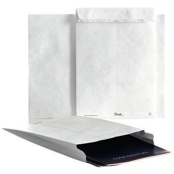 Rivesikker konvolutt, B4A med belg, 250X330X38 mm, hvit, Tyvek