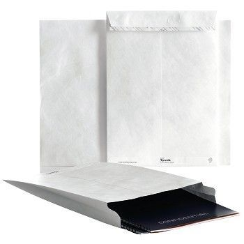 Rivesikker konvolutt, E4B med belg, åpning langside 457x305x50 mm, hvit, Tyvek