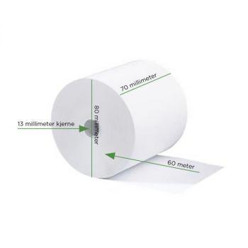 Kassarull 70x80x12mm, 60 meter (Trefritt papir)