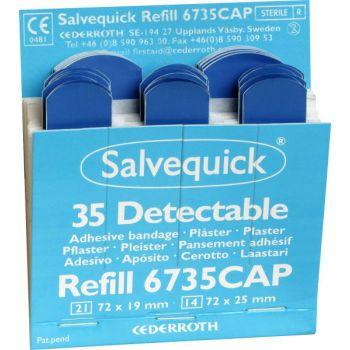 Plaster Salvequick 6735CAP, detekterbart, blått 35 stk