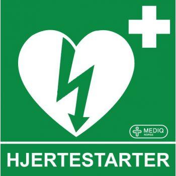 Skilt hjertestarter 15x15cm