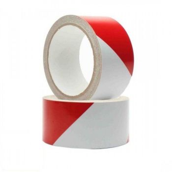 Varseltape 50mm x 33m, Rød og Hvit