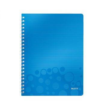 Notatbok Leitz WOW PP A4 Linjert 80 ark, hullet, Blå metallic
