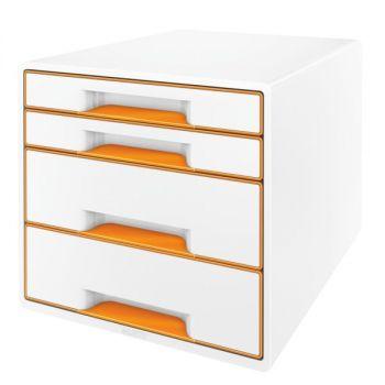 Skuffkube Leitz WOW 4 skuffer Hvit/Oransje metallic