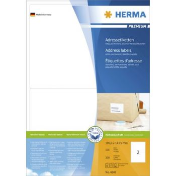 Etiketter Premium 199,6x143,5mm Blekk-Kopi-Laser, 2 stk pr ark, 100 ark pr eske