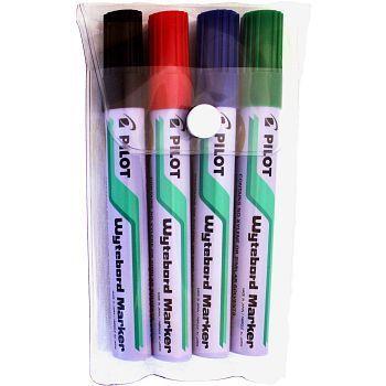 Whiteboardpenn, sett med 4 farger, Pilot Wyteboardmarker, Strekbredde 1,8mm