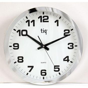 Veggklokke TIQ 851A Hvit/Sølv 40 cm Diameter