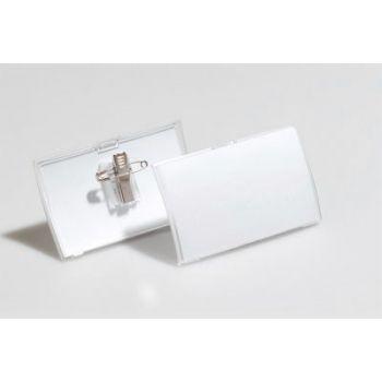 Navneskilt CLICK FOLD med nål og klemme 54x90mm (25stk)