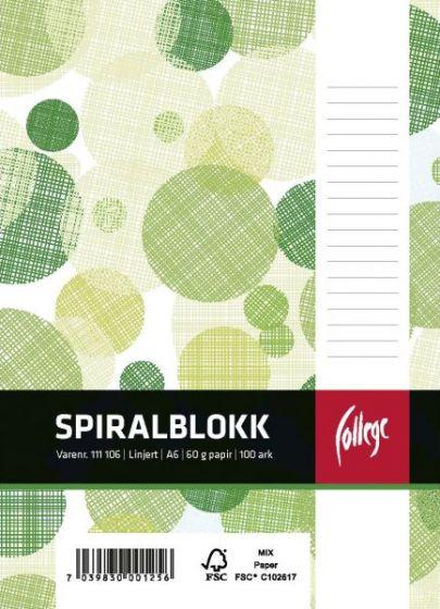 Spiralblokk A6 linjer perforert, toppspiral, 100 ark