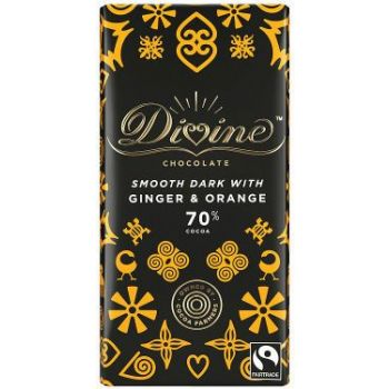 Sjokolade - Fairtrade Divine m/ingefær & appelsin 70% (90g)