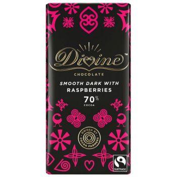 Sjokolade - Fairtrade Divine m/bringebær 70% (90g)
