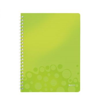 Notatbok Leitz WOW PP A4 Linjert 80 ark, hullet, Grønn metallic
