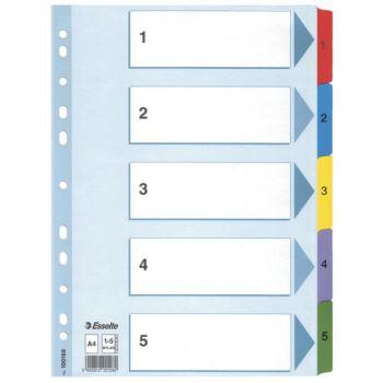 Skilleark A4 Kartong, 1-5, 5 farger (20 sett)