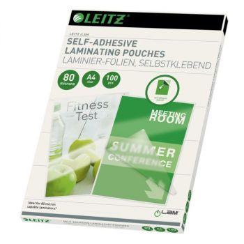 Laminat Leitz iLam selvklebende A4 80my (100 stk), Klar