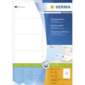 Etiketter Premium 99,1x57mm Blekk-Kopi-Laser, 10 stk pr ark, 100 ark pr eske