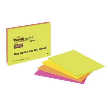 Notatblokk Post-it Meeting Note Super Sticky selvklebende 203x152mm (4 stk)