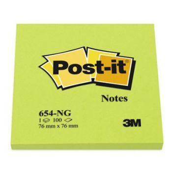 Post-It Notatblokk selvklebende 76x76mm Post-it, Neongrønn (6 bl)