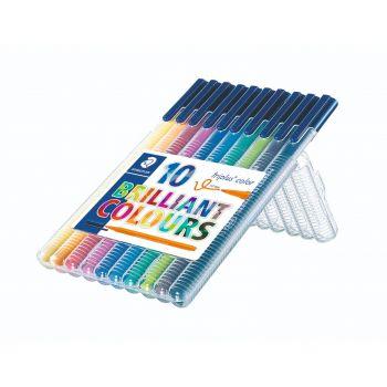 Fiberpenn-Sett Triplus 1,0mm, Assorterte farger (10 stk)