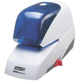 Stiftemaskin elektrisk Rapid 5050E, Hvit-Blå (inntil 50 ark)