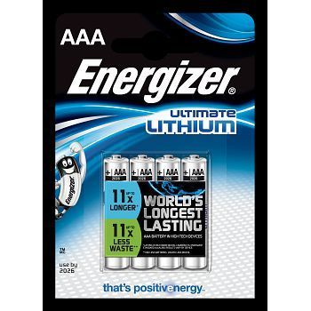 Batteri 1,5V Energizer Ultimate Lithium AAA L92. Pakke á 4stk