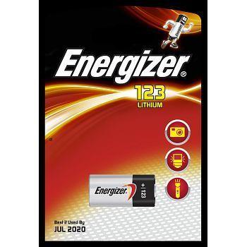 Batteri 3V Energizer Lithium 123. Pakke á 1stk