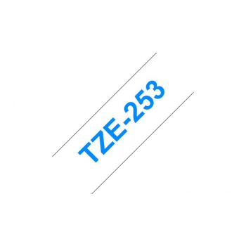 Merketape Brother P-Touch tape 24 mm bred - blå på hvit laminert 8m