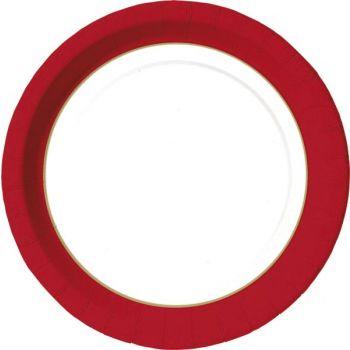 Tallerken Duni flat, med rød kant 22cm (50 stk)